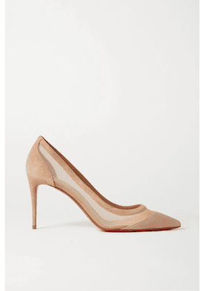 Christian Louboutin - Galativi 85 Suede And Mesh Pumps - Neutral