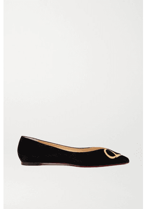 Christian Louboutin - Cl Mirrored Leather-trimmed Suede Point-toe Flats - Black
