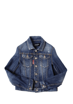 Distressed Stretch Cotton Denim Jacket