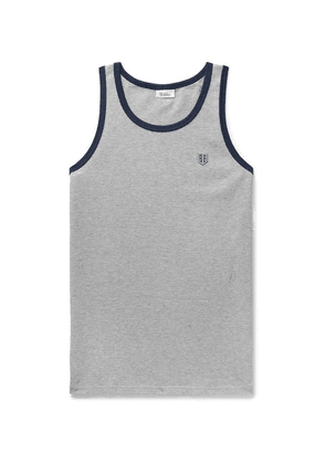 Schiesser - Leo Contrast-tipped Textured Cotton-jersey Tank Top - Gray
