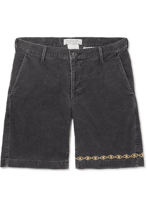 Remi Relief - Slim-fit Embellished Cotton-blend Corduroy Shorts - Gray