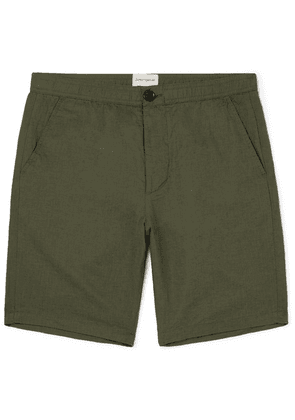 Oliver Spencer - Linton Linen And Cotton-blend Shorts - Green