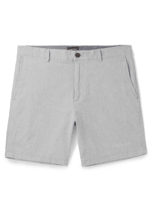 Club Monaco - Baxter Slim-fit Stretch Linen And Cotton-blend Chambray Shorts - Gray