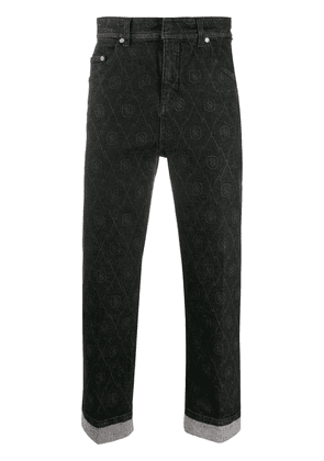 Neil Barrett logo print straight-fit jeans - Black