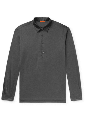 Barena - Mélange Cotton-jersey Polo Shirt - Charcoal