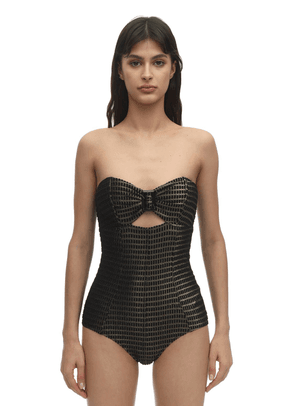 Strapless Buckle Jacquard Swimsuit