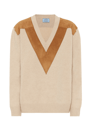 Cashmere and suede sweater