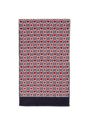 Gucci Pink Wool GG Hearts Scarf