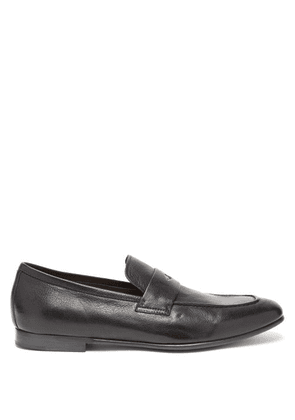 Dunhill - Engine Turn Leather Penny Loafers - Mens - Black