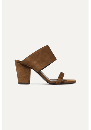SAINT LAURENT - Oak Suede Mules - Tan