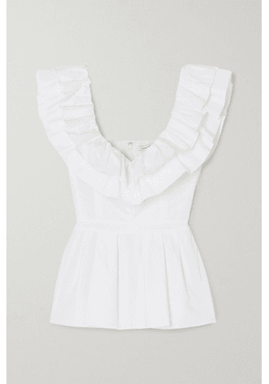 Alexander McQueen - Ruffled Cotton-poplin Peplum Blouse - White