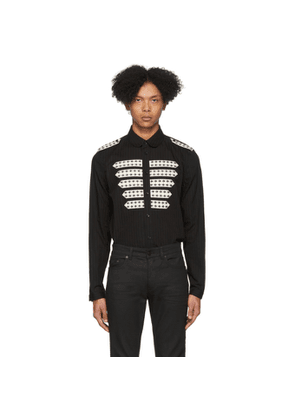 Saint Laurent Black Striped Officer Shirt