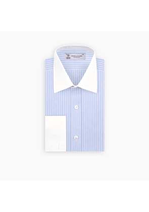 Light Blue and White Stripe Shirt with Contrast T & A Collar and.