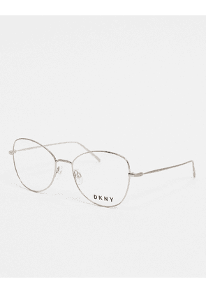 DKNY City Native round glasses with demo lens-Silver