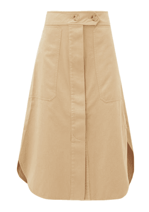 Lee Mathews - Workroom Patch-pocket Organic-cotton Midi Skirt - Womens - Camel