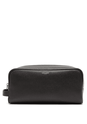 Saint Laurent - Logo-print Grained Leather Pouch - Mens - Black