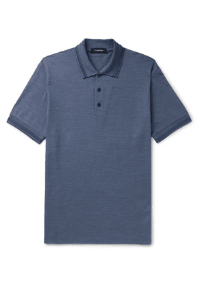 Ermenegildo Zegna - Contrast-tipped Cotton And Silk-blend Polo Shirt - Blue