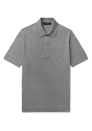 Ermenegildo Zegna - Slim-fit Mélange Cotton, Linen And Silk-blend Polo Shirt - Gray