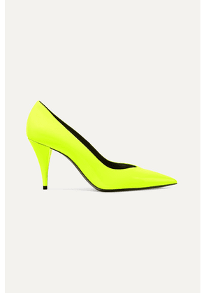 SAINT LAURENT - Kiki Neon Patent-leather Pumps - Yellow