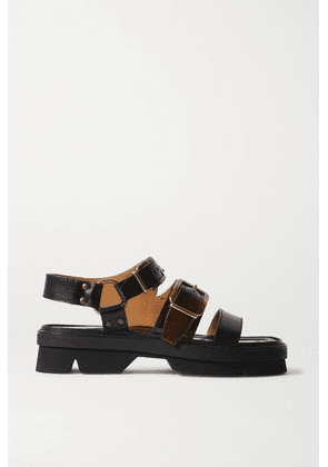 Dries Van Noten - Two-tone Smooth And Patent-leather Platform Sandals - Black