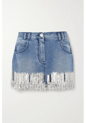 Balmain - Fringed Sequined Denim Mini Skirt - Blue