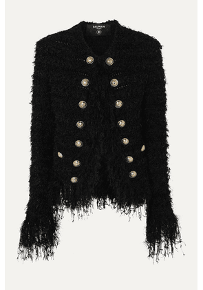 Balmain - Fringed Tweed Blazer - Black
