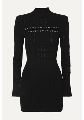 Balmain - Lace-up Ribbed Pointelle-knit Mini Dress - Black