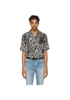 Saint Laurent Black and Grey Silk Leopard Shirt
