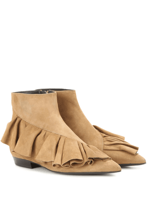 Ruffle suede ankle boots