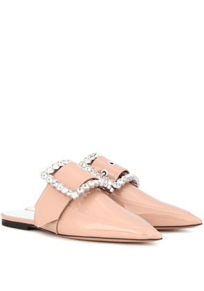 Embellished patent leather slippers