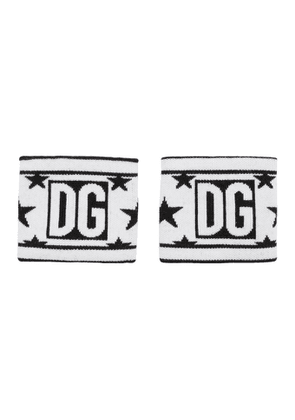 Dolce and Gabbana White and Black Wool Millennial Star Wristbands