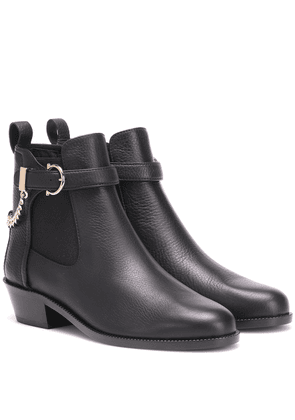 Gancini leather ankle boots