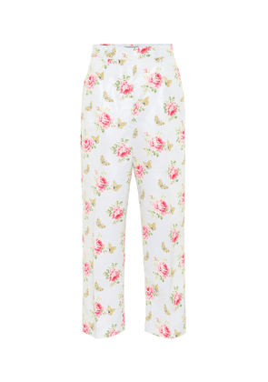 Floral high-rise silk pants
