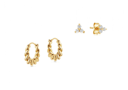 Gold Twist And Sparkle Earring Set