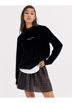 Fred Perry velour embroidered sweatshirt-Black