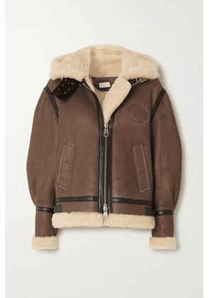 Chloé - Hooded Leather-trimmed Shearling Jacket - Brown