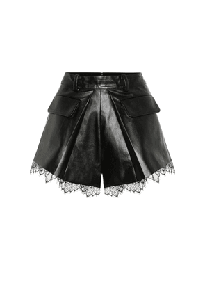 High-rise faux leather shorts