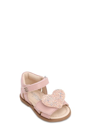 Leather Sandals W/ Glitter Heart