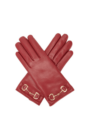 Gucci - Horsebit Leather Gloves - Womens - Red