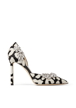 TEJA 100 Black and White Animal Print Pony Pumps with Crystal Wings