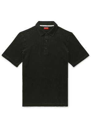 Isaia - Slim-fit Cotton-piqué Polo Shirt - Dark green