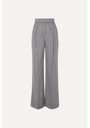 Alexander McQueen - Houndstooth Wool Wide-leg Pants - Black