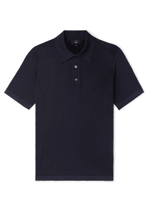 Dunhill - Herringbone-knit Mulberry Silk Polo Shirt - Navy