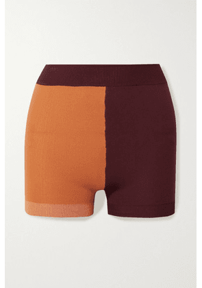Nagnata - Yoni Technical-knit Organic Cotton-blend Shorts - Orange