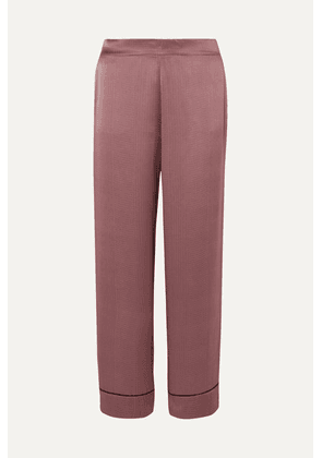ASCENO - Polka-dot Silk-satin Pajama Pants - Burgundy