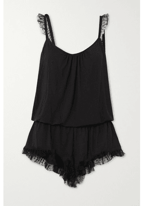 Eberjey - Iona Point D'esprit Tulle-trimmed Stretch-modal Playsuit - Black