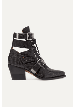 Chloé - Rylee Cutout Snake-effect Leather Ankle Boots - Charcoal