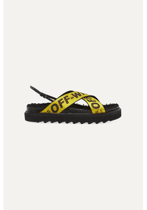 Off-White - Shearling-trimmed Canvas-jacquard And Patent-leather Sandals - Black