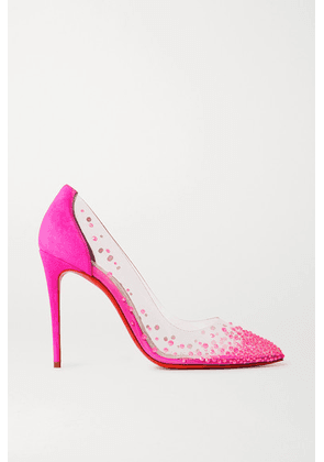 Christian Louboutin - Degrastrass 105 Swarovski Crystal-embellished Pvc And Suede Pumps - Fuchsia