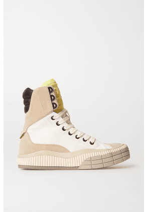 Chloé - Clint Suede, Leather And Rubber-trimmed Canvas High-top Sneakers - White
